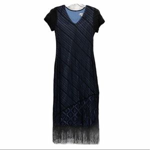 Harlow Light Blue Dress Black overlay & fringe